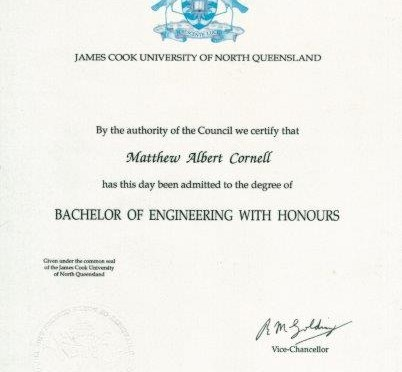 Matt Cornell civil engineering degree James Cook University