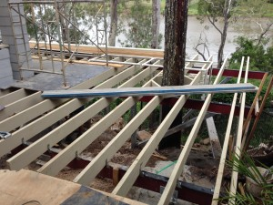Deck joists installed