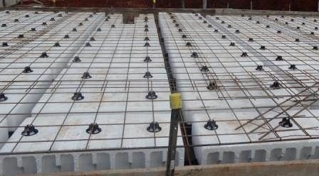 Photo of a waffle slab before being poured with concrete