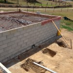 Photo of a house on a Besser block retaining walls