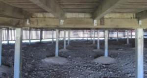 Steel columns under a house