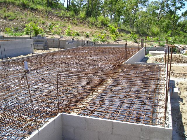 Photo of a house raft slab