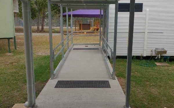 Covered walkway steelwork and pathway