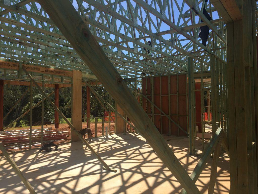 Timber frame for big house at Cedar Creek