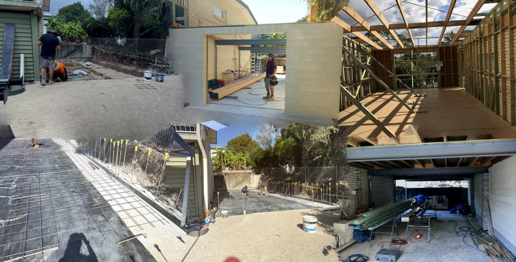 Collage photo of a house renovation and extension project that Cornell Engineers provided engineering inspections for.