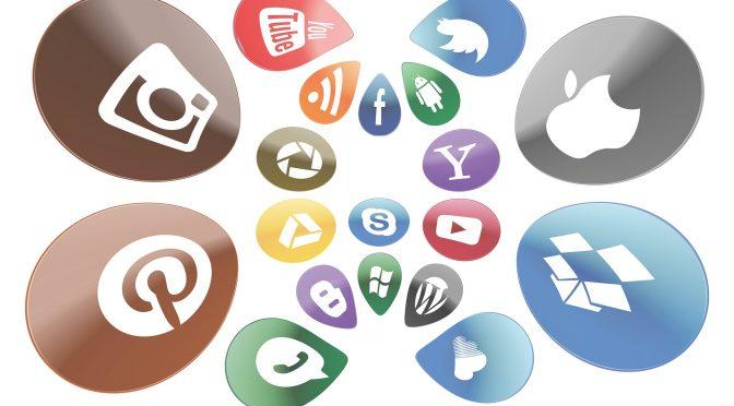 Swirling social media logos