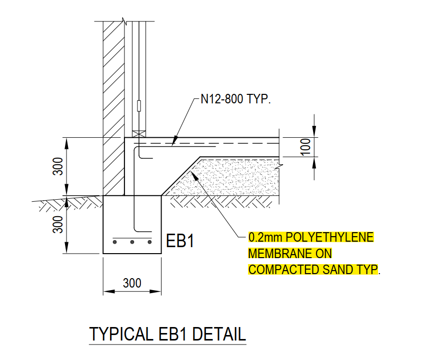 Engineer's drawing showing a edge beam. The vapour barrier is called up as a 0.2mm polyethylene membrane on compacted sand.